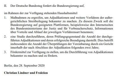 """""""Adjudikation in Zeiten der Covid-19-Pandemie"""" - Antrag im Bundestag"""