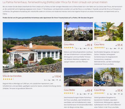 Ferienhäuser und Ferienwohnungen auf einer Finca auf La Palma mieten von privaten Anbietern.