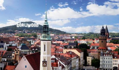 Görlitz-Panorama mit Görliwood-Schriftzug© Die Partner/EGZ