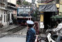 Bahnübergang in Hanoi