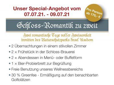 Schloss-Romantik zu zweit im Wasserschloss Mellenthin auf Usedom