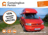 15% Rabatt auf Campingbus mieten im September und Oktober.