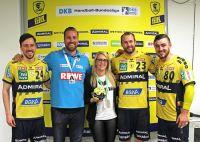 Patrick Groetzki, Oliver Roggisch (Sportl. Leiter Rhein-Neckar Löwen), Monika Ruppert (ERIMA), Steffen Fäth, Jannik Kohlbacher