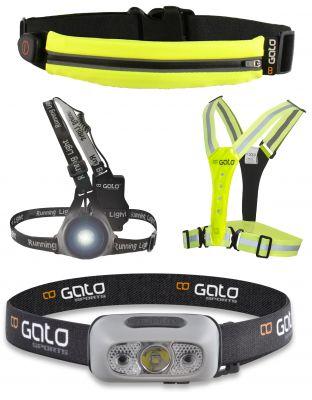 Gato Sports LED Sports Belt USB, Safer Sport Vest Sicherheitsweste, High Viz Chest Light Brustleuchte,Head Torch Light Stirnlampe