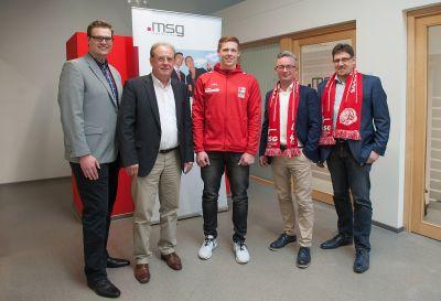 Fabian Rode (HSG), Gerhard Blömers (HSG), Nicky Verjans (Kapitän HSG),  Markus Kottwitz und Martin vom Bruch (msg services)