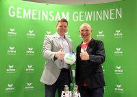 MT-Vorstand Axel Geerken & ERIMA Geschäftsführer Wolfram Mannherz bei der Pressekonferenz zur Bekanntgabe der Partnerschaft