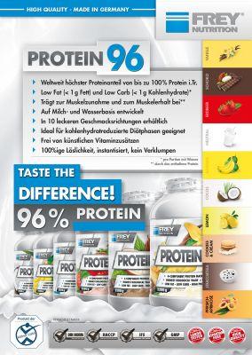 PROTEIN 96 von FREY Nutrition mit dem weltweit höchsten Proteingehalt von 96 % (i.Tr.)