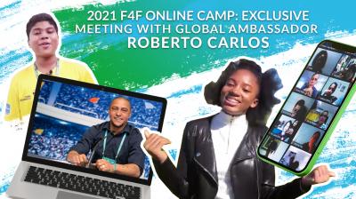 Globaler F4F Botschafter Roberto Carlos stellt sich den Fragen junger Teilnehmer aus aller Welt. (Bild: F4F)