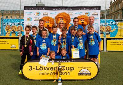 Die Jungenmannschaft der Hohbuchschule Reutlingen gewannen die 3-Löwen-cup mini-WM am Samstag in Stuttgart