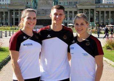 Die ERIMA MarkenbotschafterInnen Sophie Scheder, Lukas Dauser und Elisabeth Seitz sind bereit für die Turn-Heim-WM. (© ERIMA)
