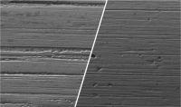 Rasterelektronenmikroskopische Aufnahme der Hochschule Mannheim nach dem Langzeittest: Rauigkeit links ohne, rechts mit Rewitec