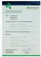 Zertifikat der E+Service+Check GmbH zur Befähigung von elektrischen Sicherheitsprüfungen