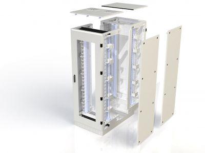 """Die geschlossenen 19""""-IT-Schränke entsprechen der Schutzklasse IP 54 und bieten Schutz vor Staub und Spritzwasser."""