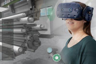 Mit Machine@Hand 2.0 lassen technische Trainings in VR durchführen und selbst gestalten.