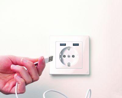 Die beiden USB 2.0 Typ-A-Ports bieten eine kombinierte Ladeleistung von 12 Watt bei 2,4 Ampere.