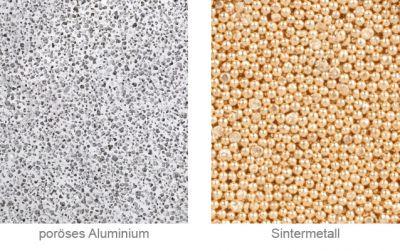 Poröses Aluminium im Vergleich zu Sintermetall