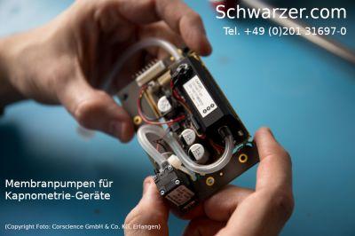 Präzisions-Membranpumpen des Herstellers Schwarzer.com für Kapnometrie-Geräte.