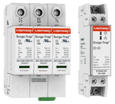 Überspannungsschutz von Mersen auf DIN-Schienen für den AC-, DC- und Signalleitungsschutz