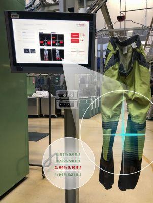 Automatisierte optische Qualitätskontrolle nach Wäsche für Warnschutzkleidung. (Fraunhofer IGD/MEWA Textil-Service AG)