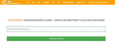 Yun Express Webseite