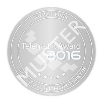 Dieses Siegel kennzeichnet ab sofort die nominierten Lösungen für den Telematik Award 2016. Bild: Telematik-Markt.de