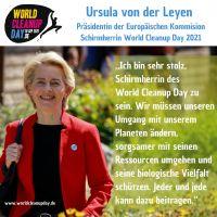 EU-Kommissionspräsidentin übernimmt Schirmherrschaft für den World Cleanup Day 2021