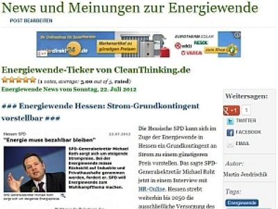 Neuer Service des Online-Wirtschaftsmagazins CleanThinking: Energiewende-Ticker