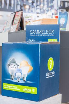 Lightcycle Sammelbox zur Entsorgung alter Lampen im Handel, Quelle: Lightcycle