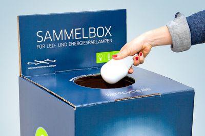 Lightcycle Sammelbox zur Entsorgung alter Lampen, Sammelstelle finden unter www.sammelstellensuche.de, Quelle: Lightcycle