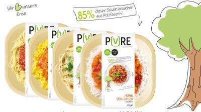 Das PURE-Sortiment: Spaghetti Bolognese, Huhn Tikka Masala, Huhn Green Curry, Huhn Süβ-Sauer