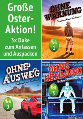 Als große Osteraktion gibt es die drei legendären Duke-Romane Ohne Warnung, Ohne Ausweg, Ohne Hemmung.