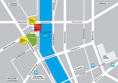 Plan zum Rhypark Basel (Schweiz), Standort der Kunstmesse Rhy Art Fair