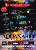 """Aquanario Weihnachtsplakat mit Tourdaten von Paul van Dyk, Lichtmond und den Shows """"Dit is Berlin"""" und Klassik Nacht."""
