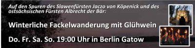 Fackelwanderung von Kavaliersreisen zum Denkmal in der Jaczo-Schlucht in Berlin-Spandau