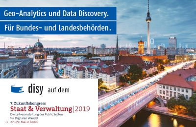 Disy präsentiert Geo-Analytics und Data Discovery auf dem 7. Zukunftskongress Staat & Verwaltung