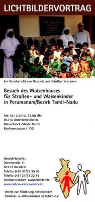 Lichtbildervortrag in München: Kinderheim in Indien