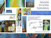 """Einladung zur Kunstausstellung """"Form & Farbe"""" in Paderborn, Hilschenbruch 5, 08. und 09.09. 2018, jeweils von 11:00 bis 17:00 Uhr"""