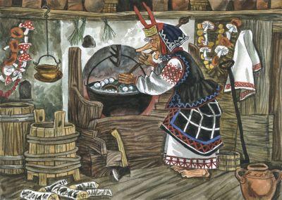 """Die Hexe Baba Jaga ist die Hauptperson in mini.musiks Kinderkonzert """"Im Zauberreich von Baba Jaga"""""""