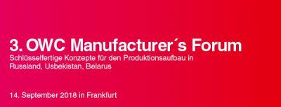 3. Manufacturer's Forum (14.09. in Frankfurt/Main)