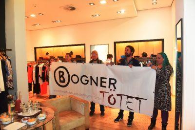 """Bundesweite Anti-Pelz-Kampagne gegen Bogner startet mit """"Go-in"""" in Hamburger Filiale"""