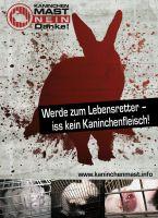"""Deutscher Tierhilfe Verband: Aufkleber-Kampagne: """"Werde zum Lebensretter - iss kein Kaninchenfleisch"""""""