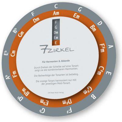 Auf der 7-Zirkel - Drehscheibe kann man die passenden Akkorde zum Grundton einfach ablesen.