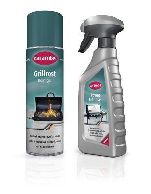Praktische Reinigungsprodukte für die Grillsaison: Grillrost-Reiniger und Power-Fettlöser von Caramba.