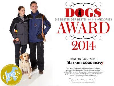 """GOOD BOY! ist Gewinner des DOGS Awards 2014 in der Kategorie """"Bekleidung Mensch""""."""