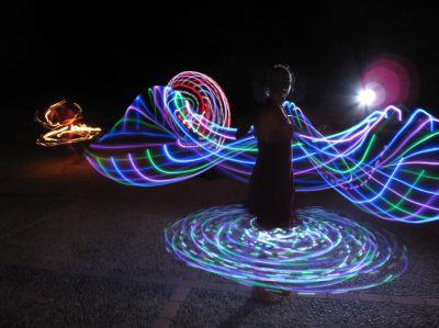 LED Hula Hoop Reifen in Bewegung