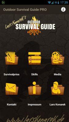 Outdoor Survival Guide PRO Menü