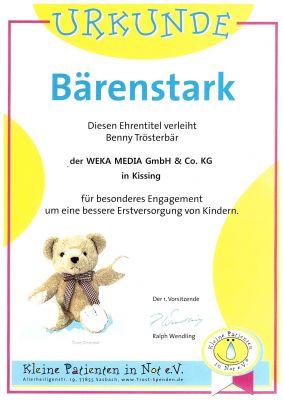 """WEKA MEDIA hat den Ehrentitel """"Bärenstark"""" vom Verein """"Kleine Patienten in Not e.V."""" erhalten"""