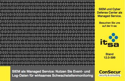 ConSecur stellt auf der it-sa SIEM als Managed Service vor.