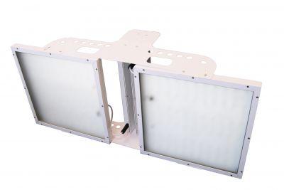 Hallenstrahler HPL 134, kaskadenförmiger Doppelstrahler mit über 60.000 Lumen für besonders hohe Hallen. Neu von AS LED Lighting.