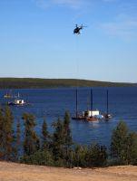 Seebohrung mit Helikoptermaterialtransport, PLS, Fission Uranium, Canada